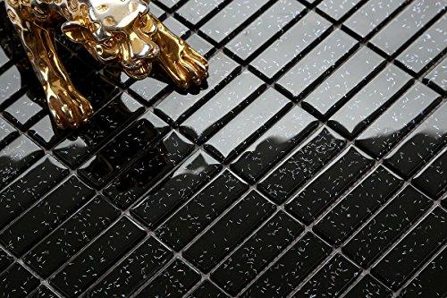 1qm vetro mosaico piastrelle mattoni in nero con brillantini più