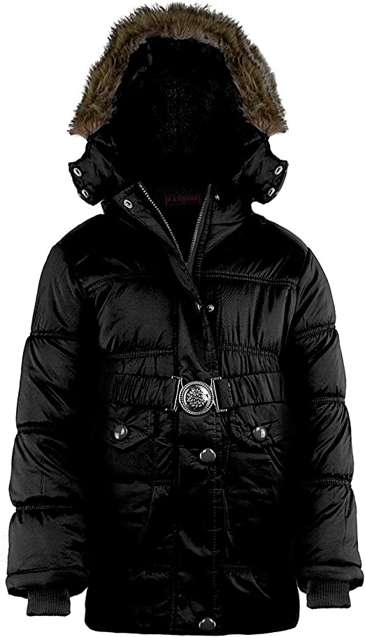 LOTMART Girls Quilted Fleece Lining Winter Jacket Detach Hood