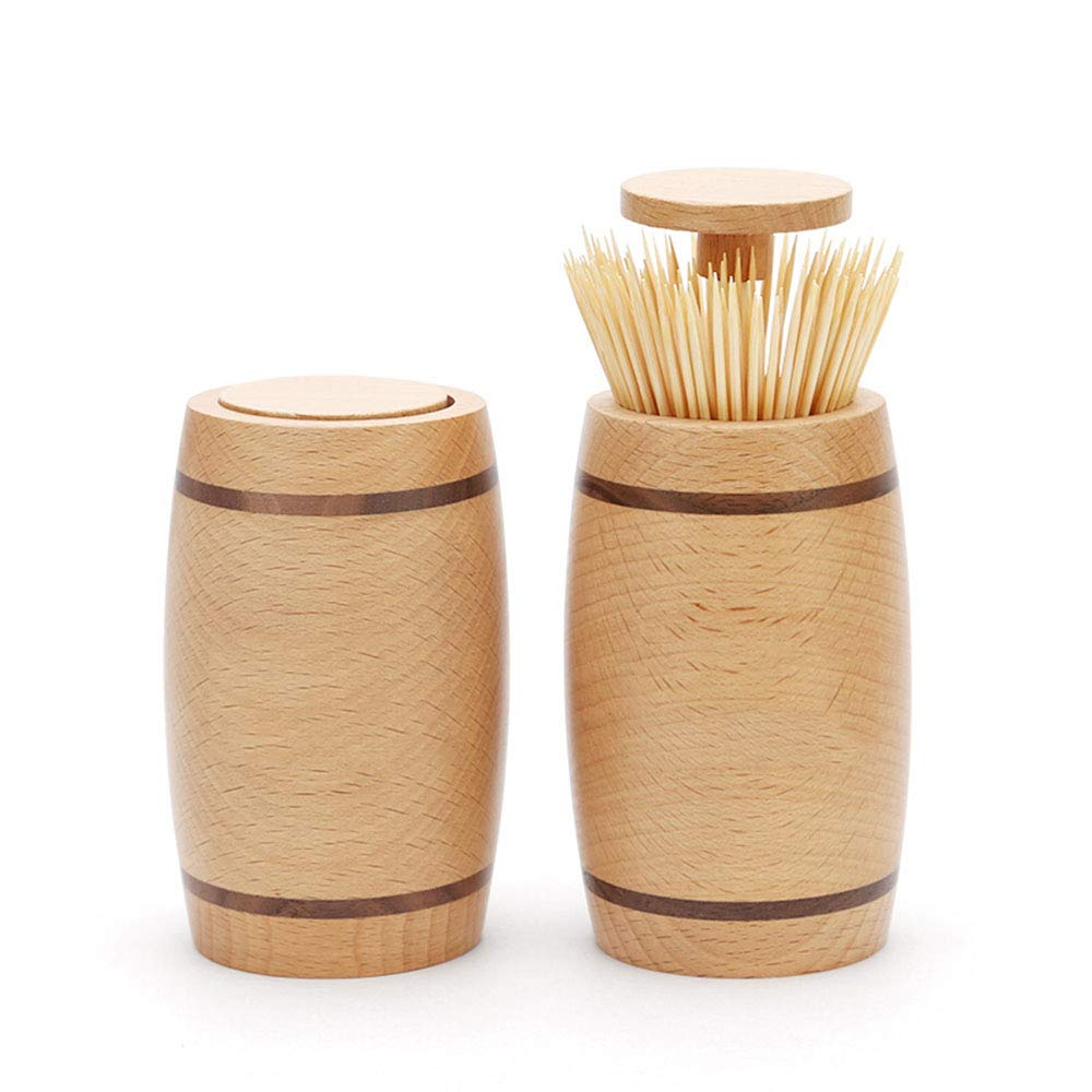 ZSY Solid Wood Barrel Toothpick Holder, Hand Pressed Automatic Toothpick Box, Home Living Room Dining Room, Suitable for Wedding or Anniversary, Wood Color, 2 Pieces. by ZSY