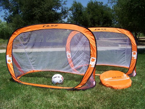 PASS Orange Pop up 5x3 Fold-able, Portable Soccer Football Nets. (Pair). Comes with Carry Case. Makes for a Great Gift to any soccer Enthusiast. 5 x 3 Soccer Goals