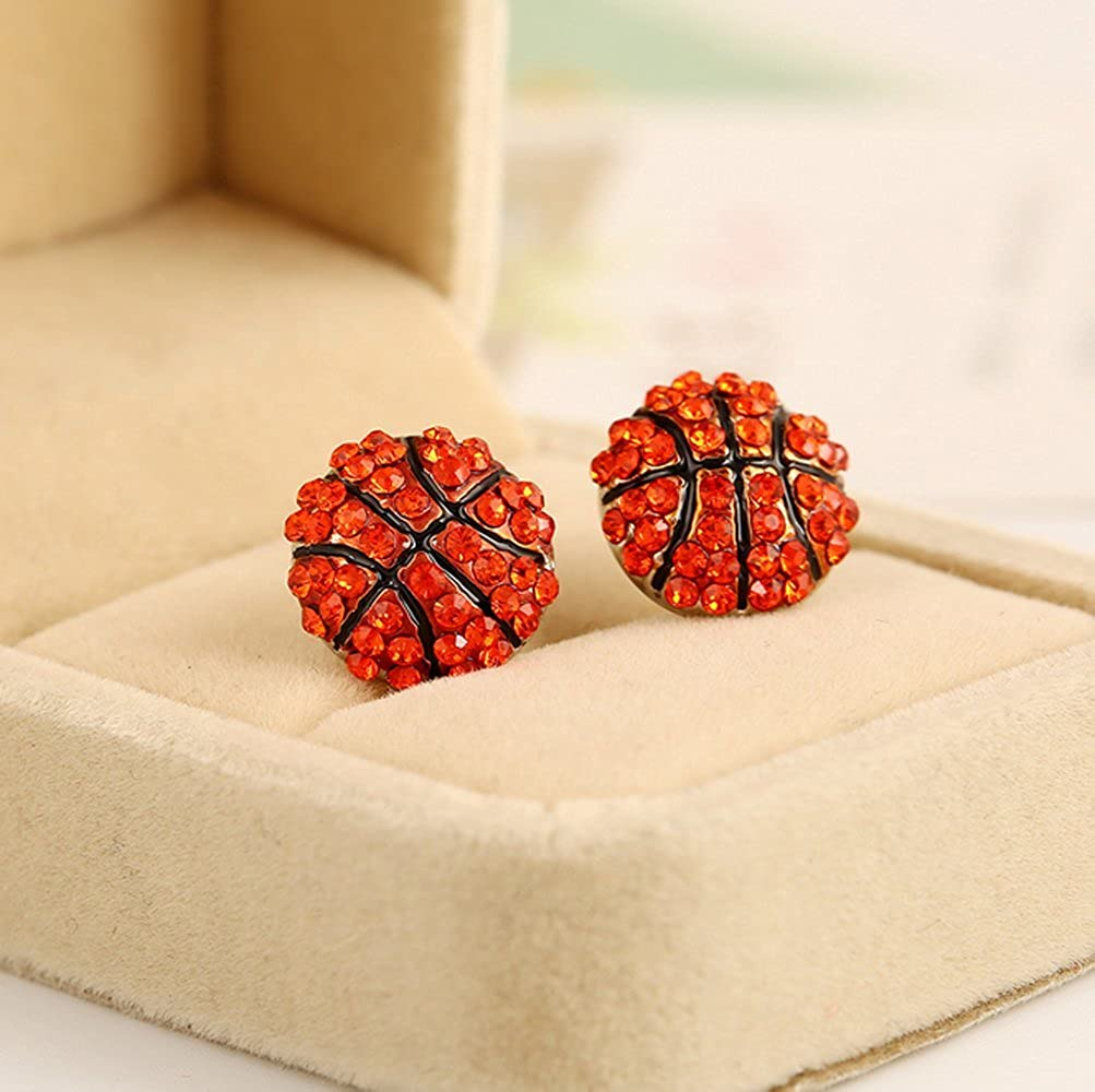 Winters Secret Red Fashion Competitive Match Sports Basketball Shape Diamond Accented Stud Earring