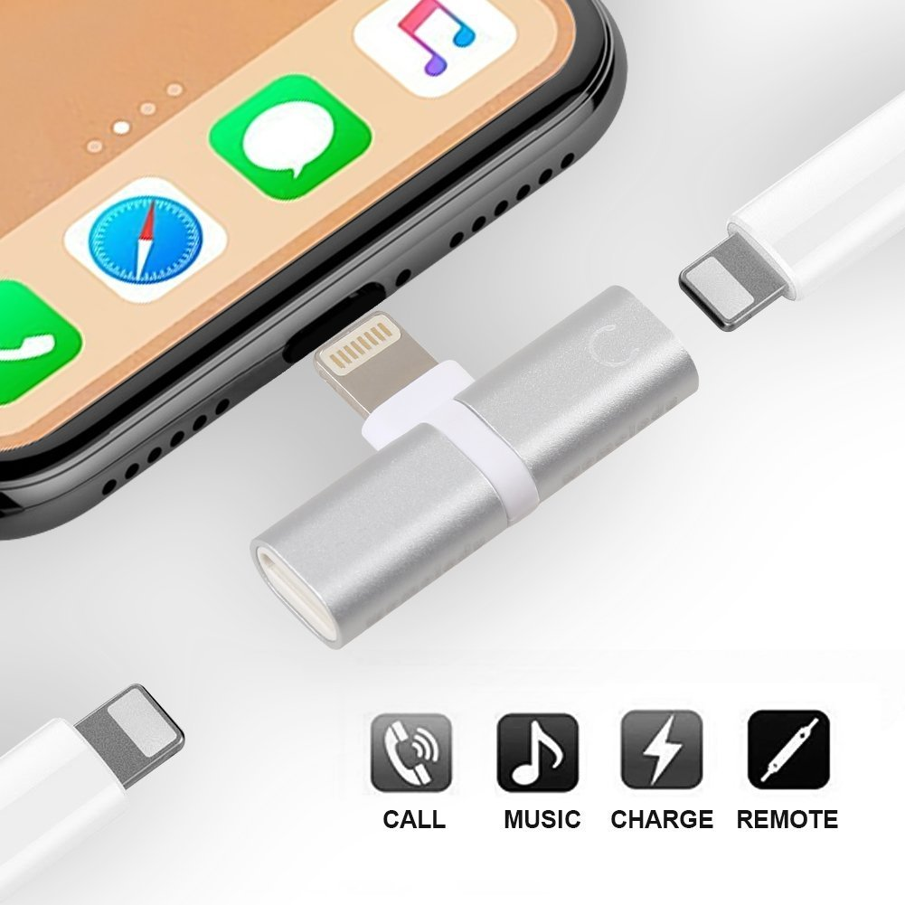 2IN1 Lightning Splitter Adapter for iPhone X/8/7. Double lightning ports for dual Lightning Headphone Audio & Charge Adapter.Compatible Music Control, Charge Function at the Same Time.(Silver)