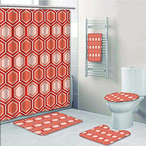 Aolankaili 5 Piece Bathroom Set Includes Shower Curtain LinerRetro Comb Al Tile