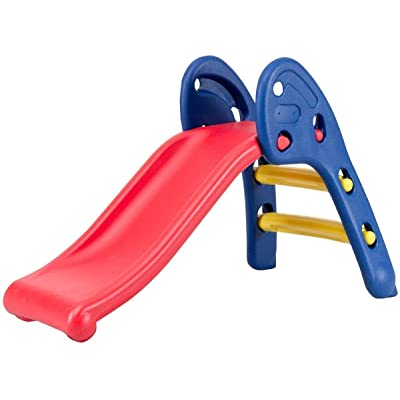 HONEY JOY Folding Slide, Indoor First Slide Plastic Play Slide Climber for Kids (Round Rail): Toys & Games