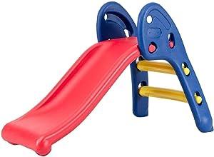 HONEY JOY Folding Slide, Indoor First Slide Plastic Play Slide Climber for Kids (Round Rail)
