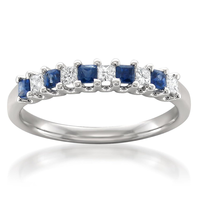14k White Gold Princess-cut Diamond & Blue Sapphire Bridal Wedding Band Ring (1/2 cttw, H-I, I1-I2)