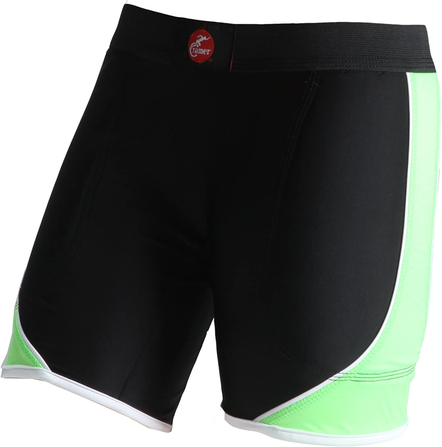 Cramer Women's Crossover Softball Compression Sliding Shorts with Foam Padding, Low-Rise 5 Inch Inseam, Support Prevents Chaffing and Injury During Activity, Black/Lime, X-Small