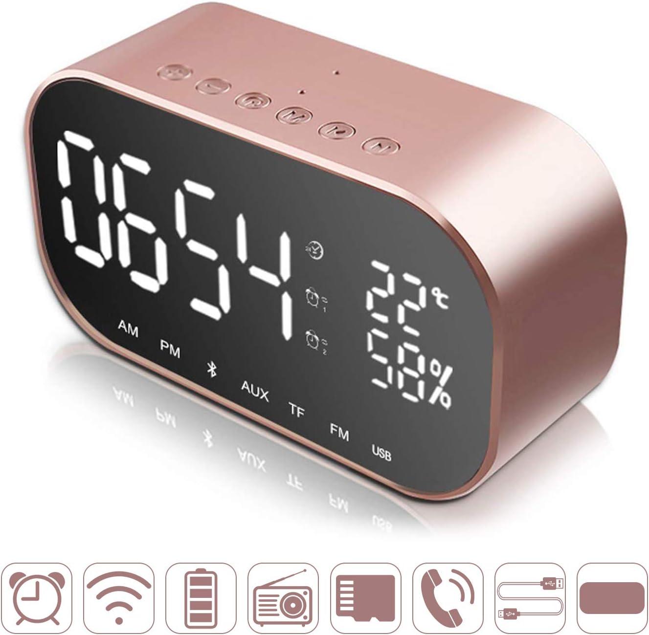 Digital Alarm Clock Wireless Bluetooth Speaker Dual 3W Driver Stereo Speaker,FM Radio,4.2 Bluetooth Digital Clocks Bedside with Dual USB Charging Port MP3 Music Player Card