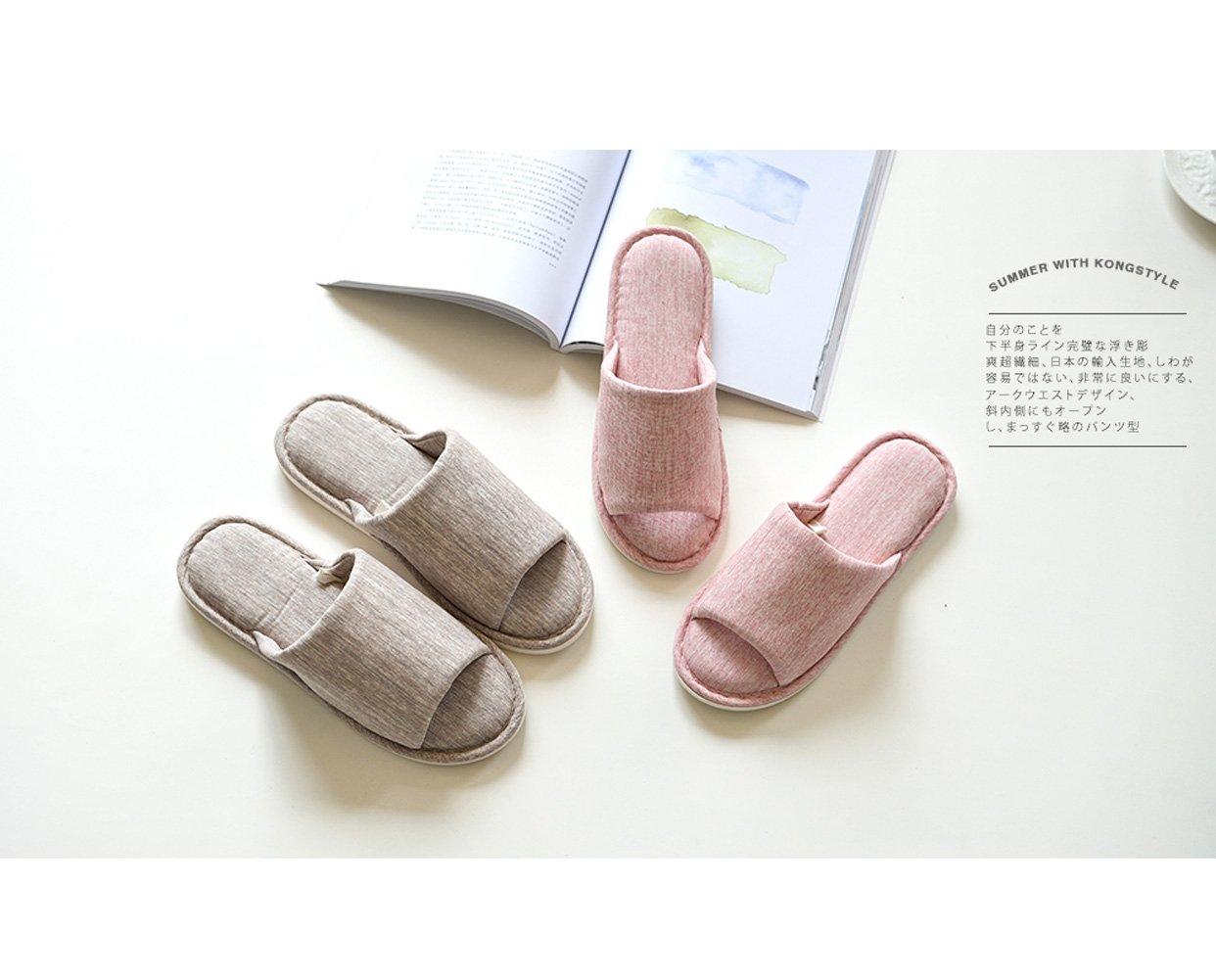 Asifn Indoor Home Slippers Memory Foam Men Women Cotton Cozy Massage Flax House Casual House (7.5 US Women/6 US Men, Pink) by Asifn (Image #5)