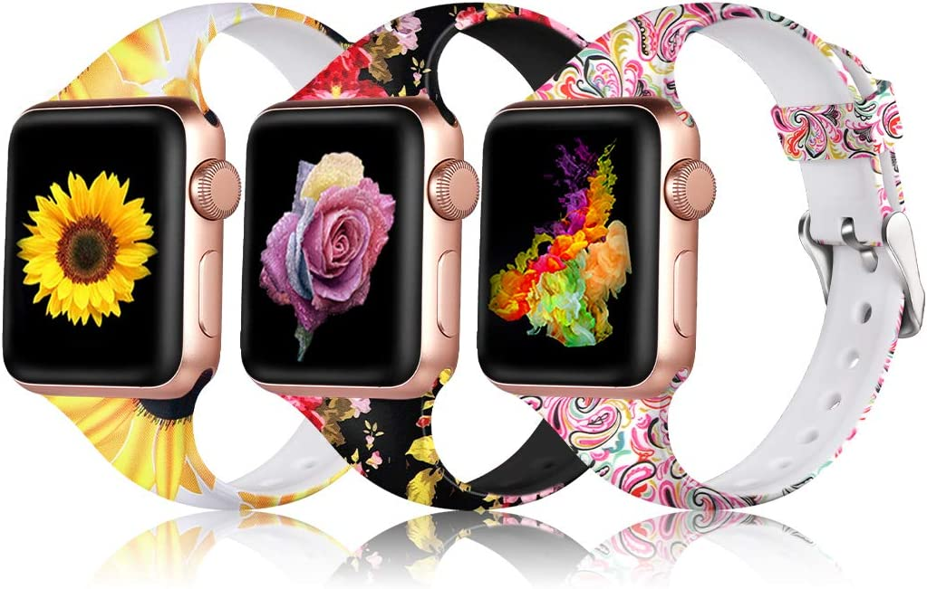 Henva Band Compatible with Apple Watch SE Band 40mm 38mm, Soft Silicone Thin Wristband for iWatch Series 6/5, Series 4, Series 3, Series 2, Series 1, Sunflower, Colorful Cloud, Pink Flower, S/M, Women