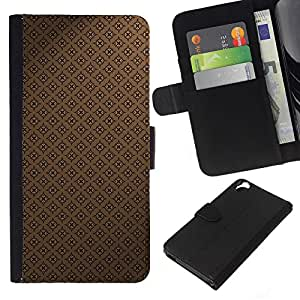 KLONGSHOP // Tirón de la caja Cartera de cuero con ranuras para tarjetas - Modelo del papel pintado de Brown Coffee Classic - HTC Desire 820 //