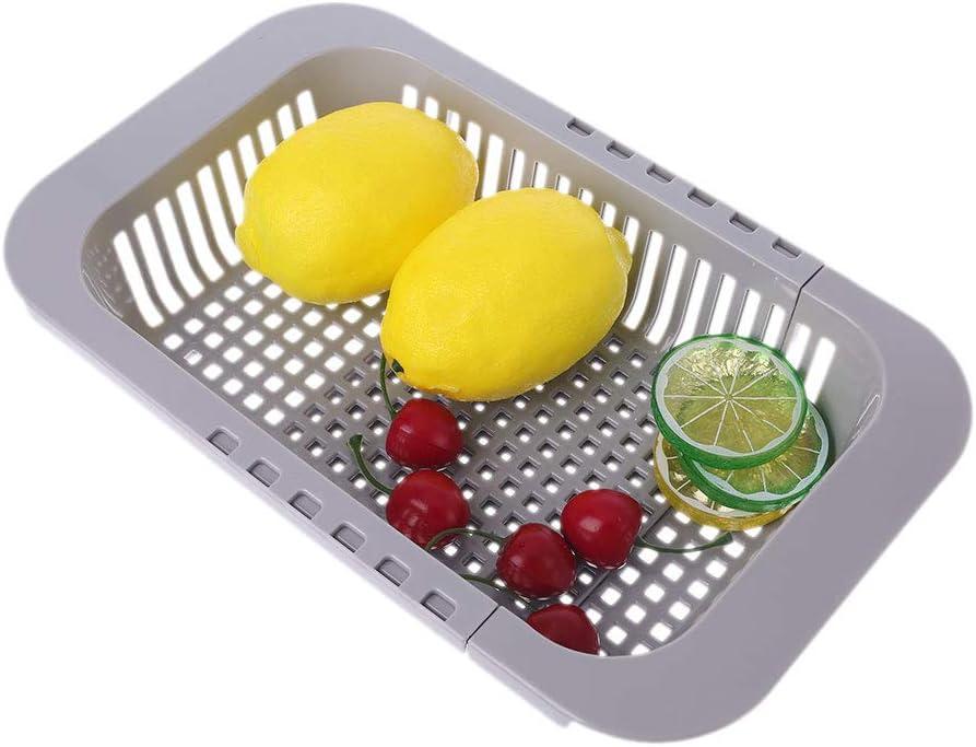 BIlinl R/églable sur Evier Plat S/échage Grille Egouttoir en Plastique L/égumes Fruit Porte-Panier De Cuisine Ustensile