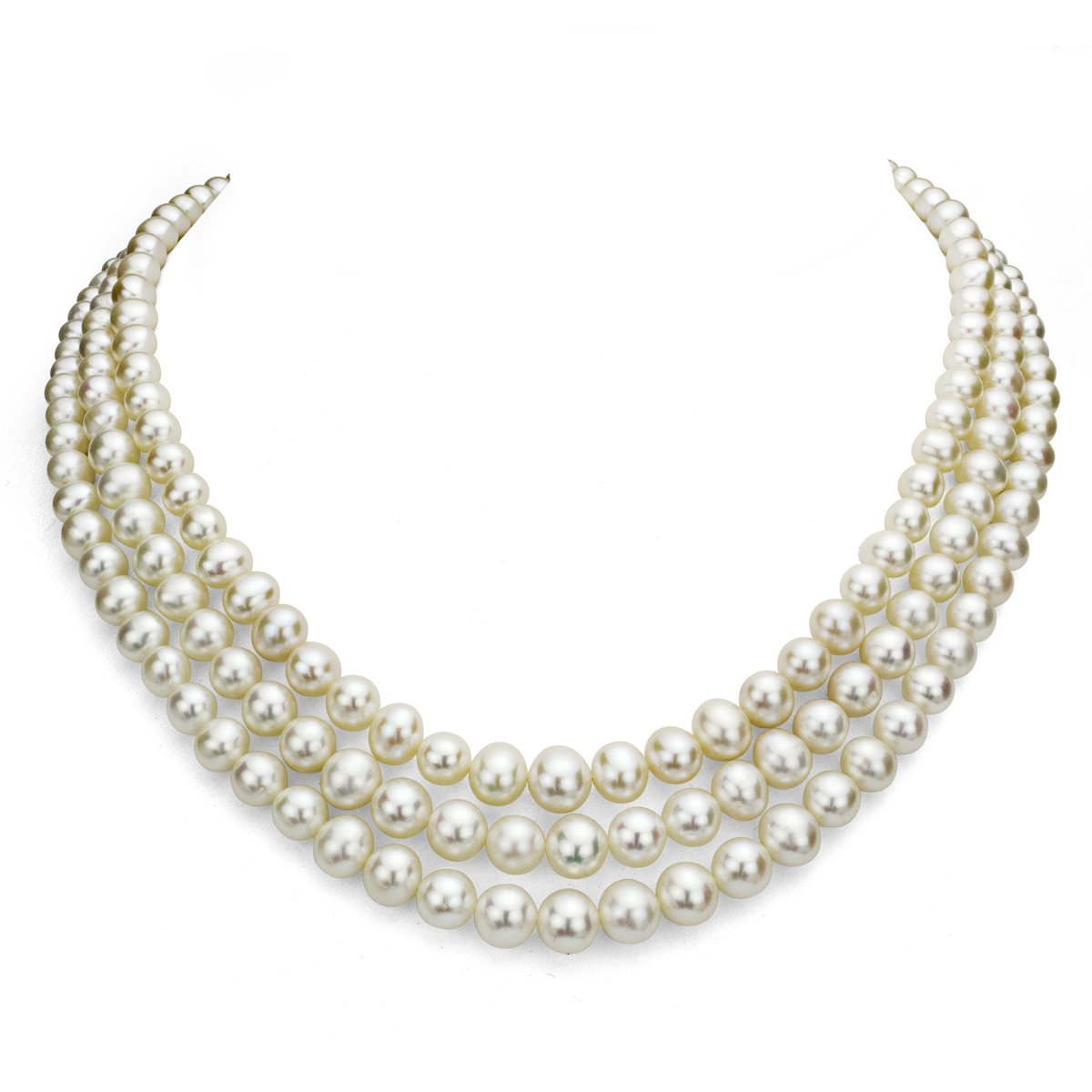 Sterling Silver 6.5-7mm 3-rows White Freshwater Cultured High Luster Pearl Necklace, 18'' by La Regis Jewelry