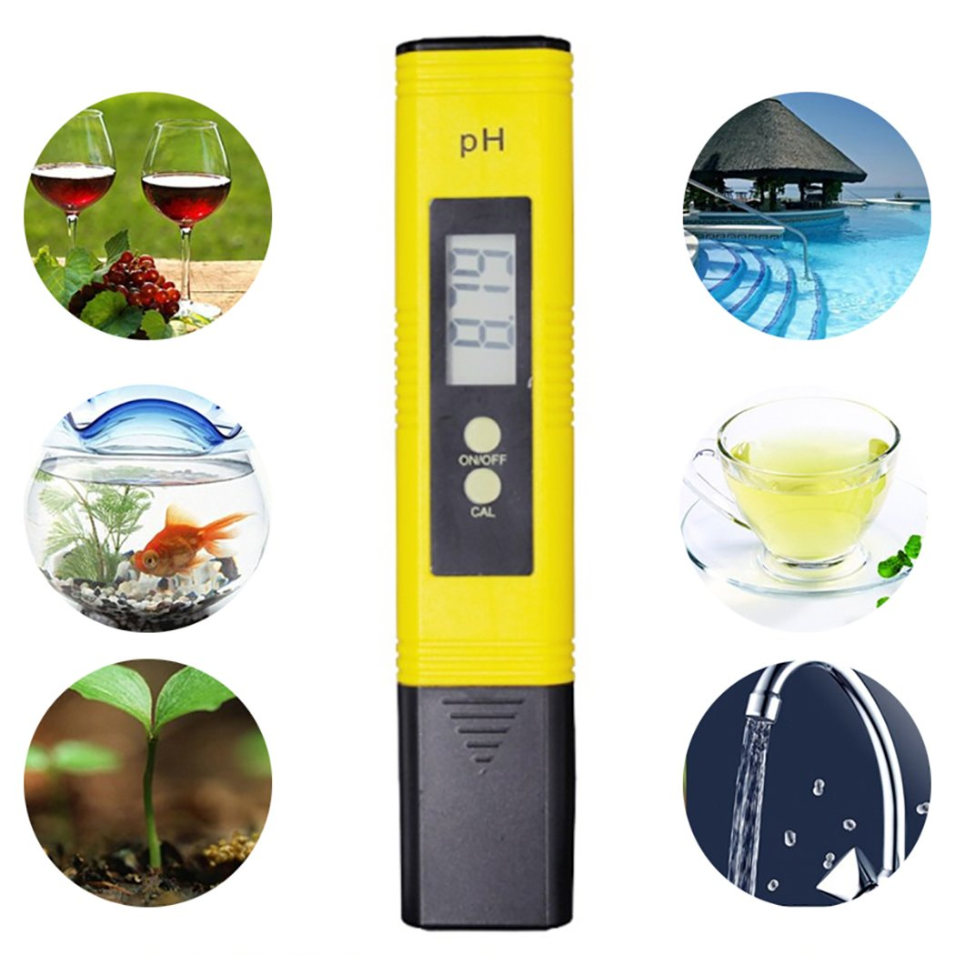 Justdolife PH Meter Water Quality Tester Portable Digital LCD Display PH Tester for Water Aquariums Pools