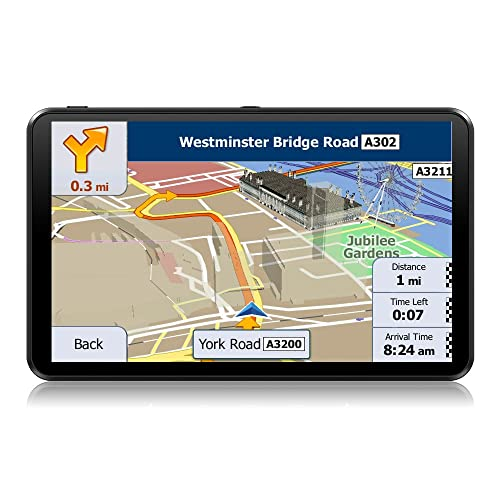7 Inch Touchscreen Car Sat Nav GPS Navigation Includes the UK and European Maps and Free Lifetime Updates.
