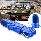 FEEGO 50'x1/4'' Strong Durable Dyneema Synthetic Winch Rope 7000+LBS Blue Fastness For Off Road Vehicle ATV UTV KFI Vehicle Car Motorcycle