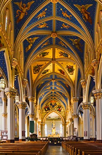 Poster Foundry Interior Basilica of The Sacred Heart Notre Dame Photo Print Stretched Canvas Wall Art 16x24 inch