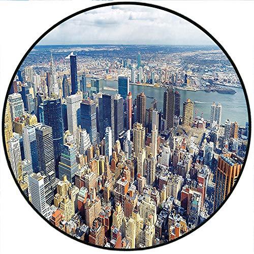 (Short Plush Floor mat/Rug Modern Aerial View of Manhattan Skyline High Skyscrapers Business Center USA Landscape Light Blue Grey Non-Slip Machine Washable 70.8