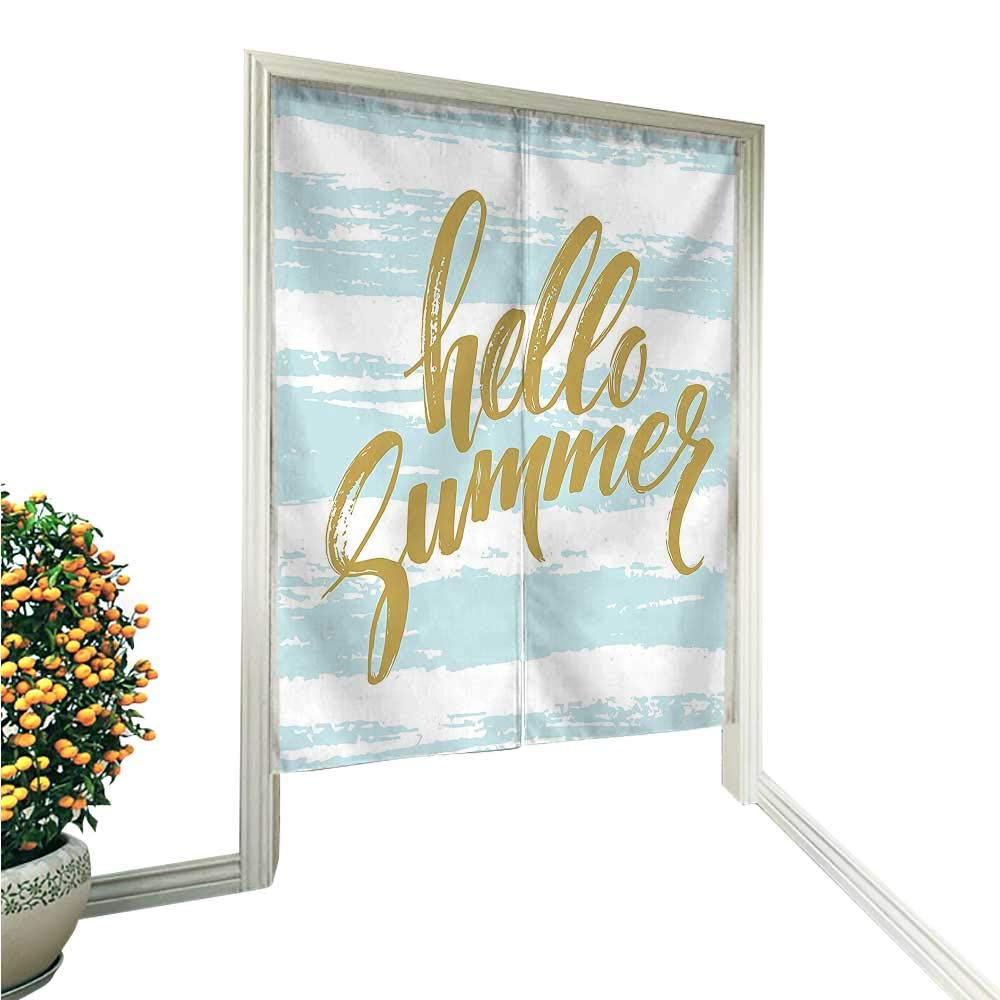 "QianHe Japanese Style Noren Door CurtainCollection Brush Lettering Phrase Hello Summer Message Travel Exotics Remote Greetings Slo Tapestry Cotton Linen Curtain Blind 33.5"" Wx47 L"