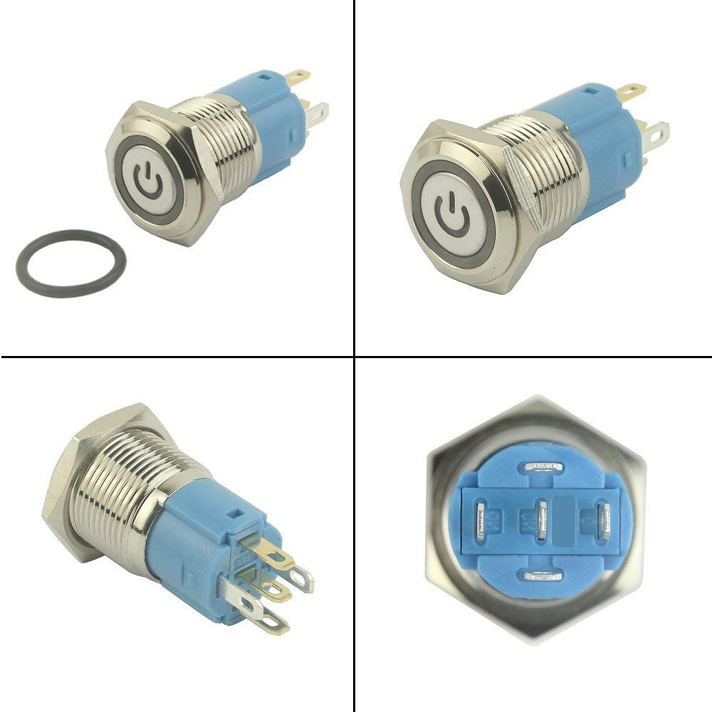 Silver Stainless Steel with Angel Eye for 16 mm Mounting Hole 12V Power Waterproof Toggle Switch with Wire Socket Plug LED Blue + LED Red KINYOOO 2 Pcs Metal Latching Pushbutton Switch