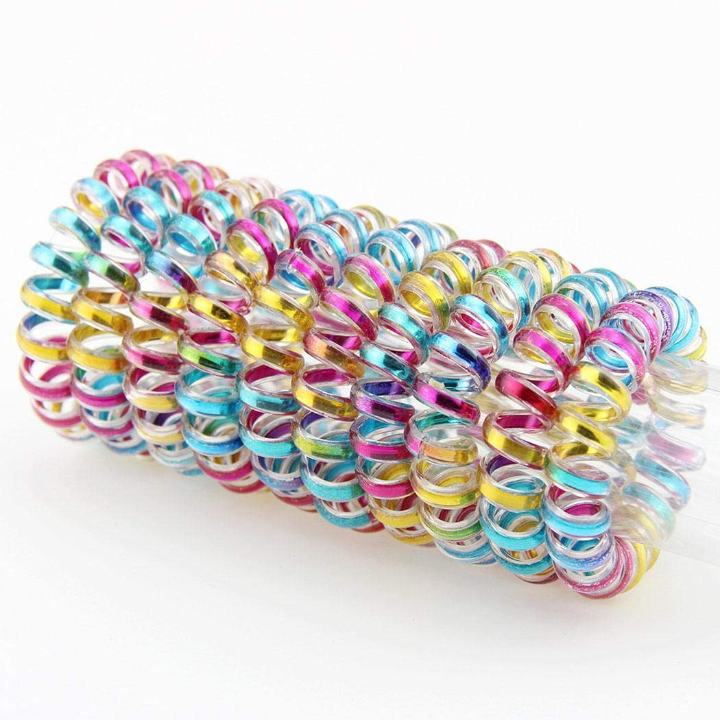 fnemo 10PCS//Box Elasticity Telephone Wire Bracelet Spiral Hair Rope Rubber Hair Band Headbands