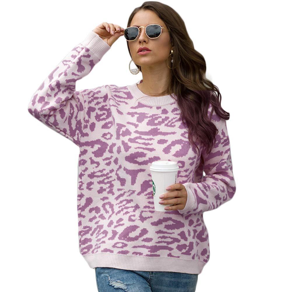 Carprinass Womens Stylish Leopard Pullover Sweater Long Sleeve Knitwear Blouse