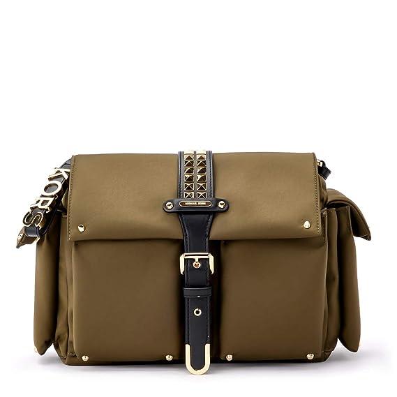 6c2f033d320 Michael Kors Olivia Messenger olive green fabric shoulder bag ...