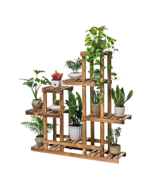 LB huajia ZHANWEI Massivholz-Blumen-Zahnstange-Fußboden-Art Bonsais-Feld Mehrschichtiger Flowerpot-Zahnstange-Wohnzimmer mit Balkon-Blumen-Regal