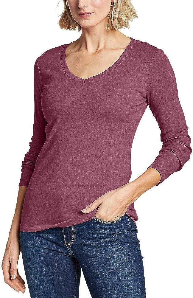Eddie Bauer Women's Favorite Long-Sleeve V-Neck T-Shirt, Lt Red HTR Regular S