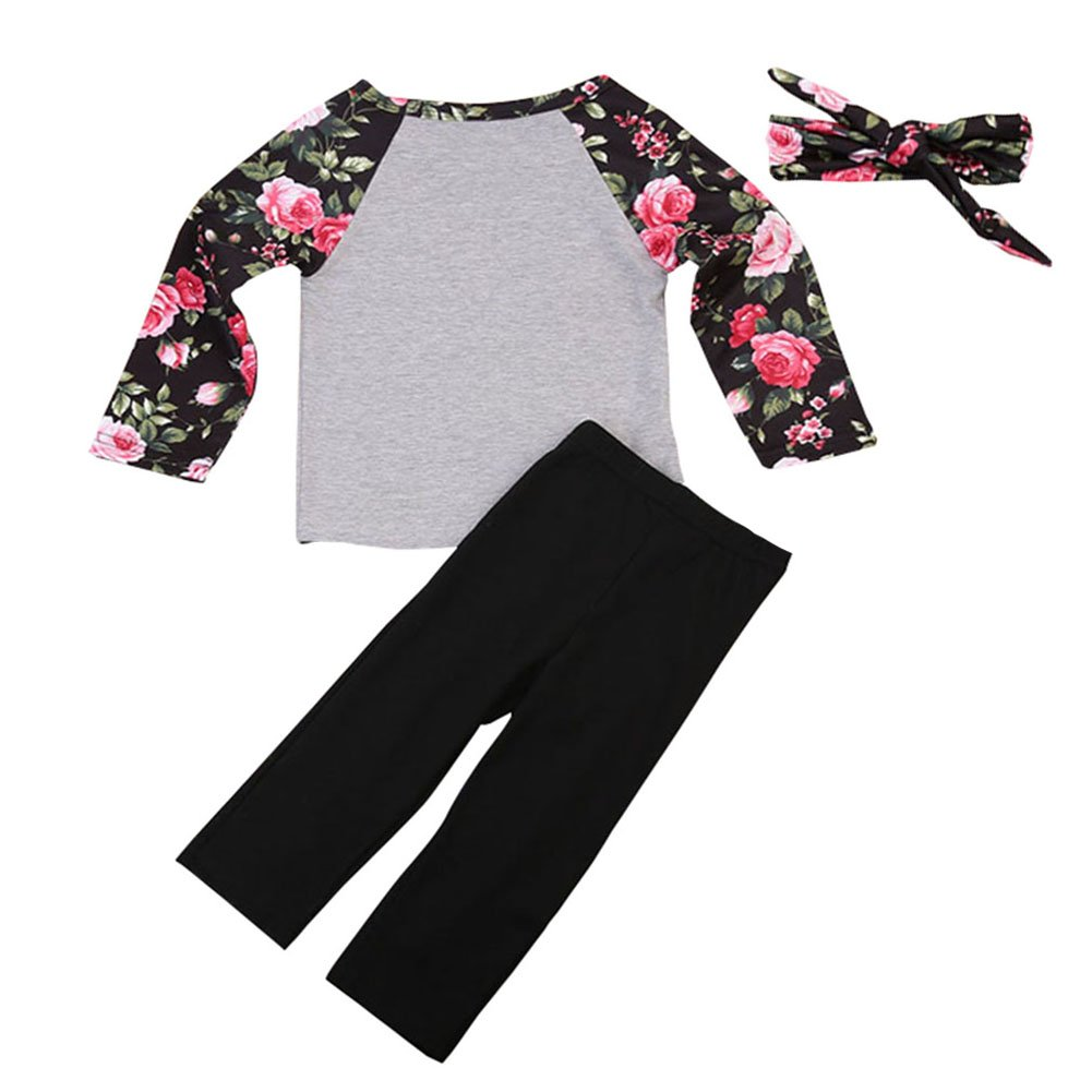 Headband Clothing Set Outfits Scfcloth Kids Clothes Girls Long Sleeve Tops Black Trousers