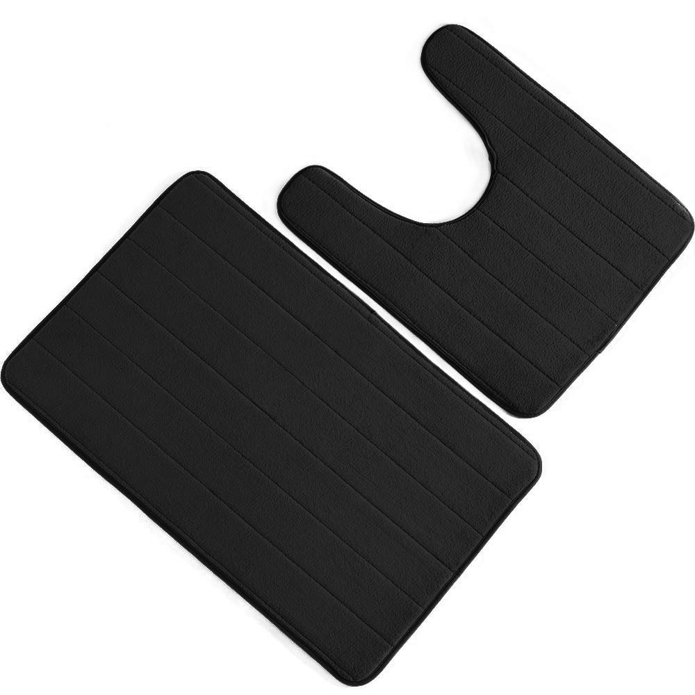 Bathroom Rug Mat Set Large and Contour Bath mat Set Absorbent Memory Foam Bath Rugs Non Slip Toilet Bathmats Carpet Black WZP