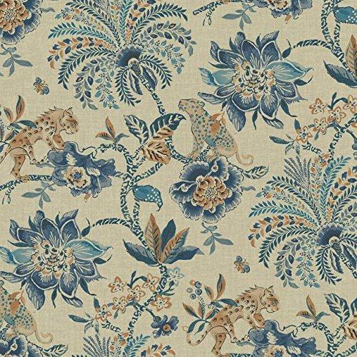 York Wallcoverings WL8604 Williamsburg II Braganza Wallpaper, Beige/Indigo Blue/Teal/Golden Tan