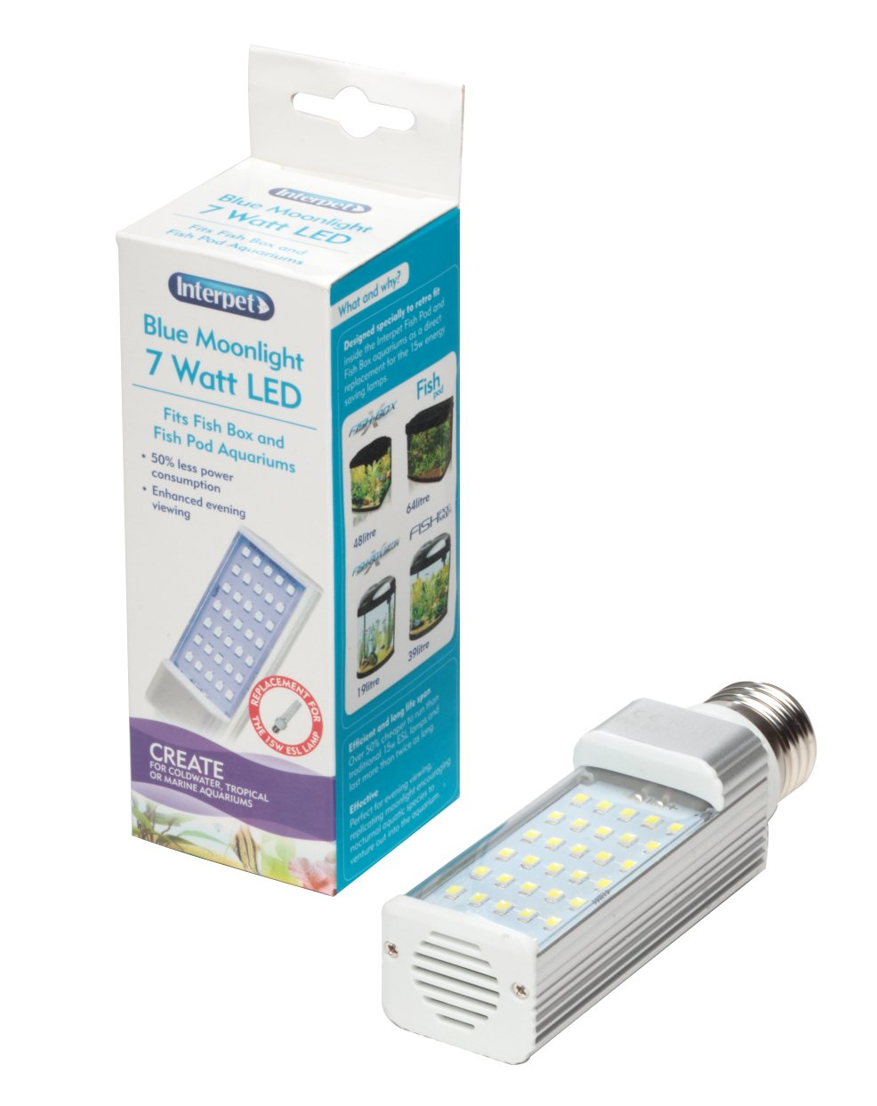 Interpet LED Energy Saving Lamp to Fit All Fish Pod and Fish Box Aquariums, 7 W - Blue Moonlight 51485