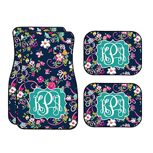 Glitter Squad Navy & Pink Floral Car Mats and License Plate (Set of 4) (Car Mats Floor Decorative)