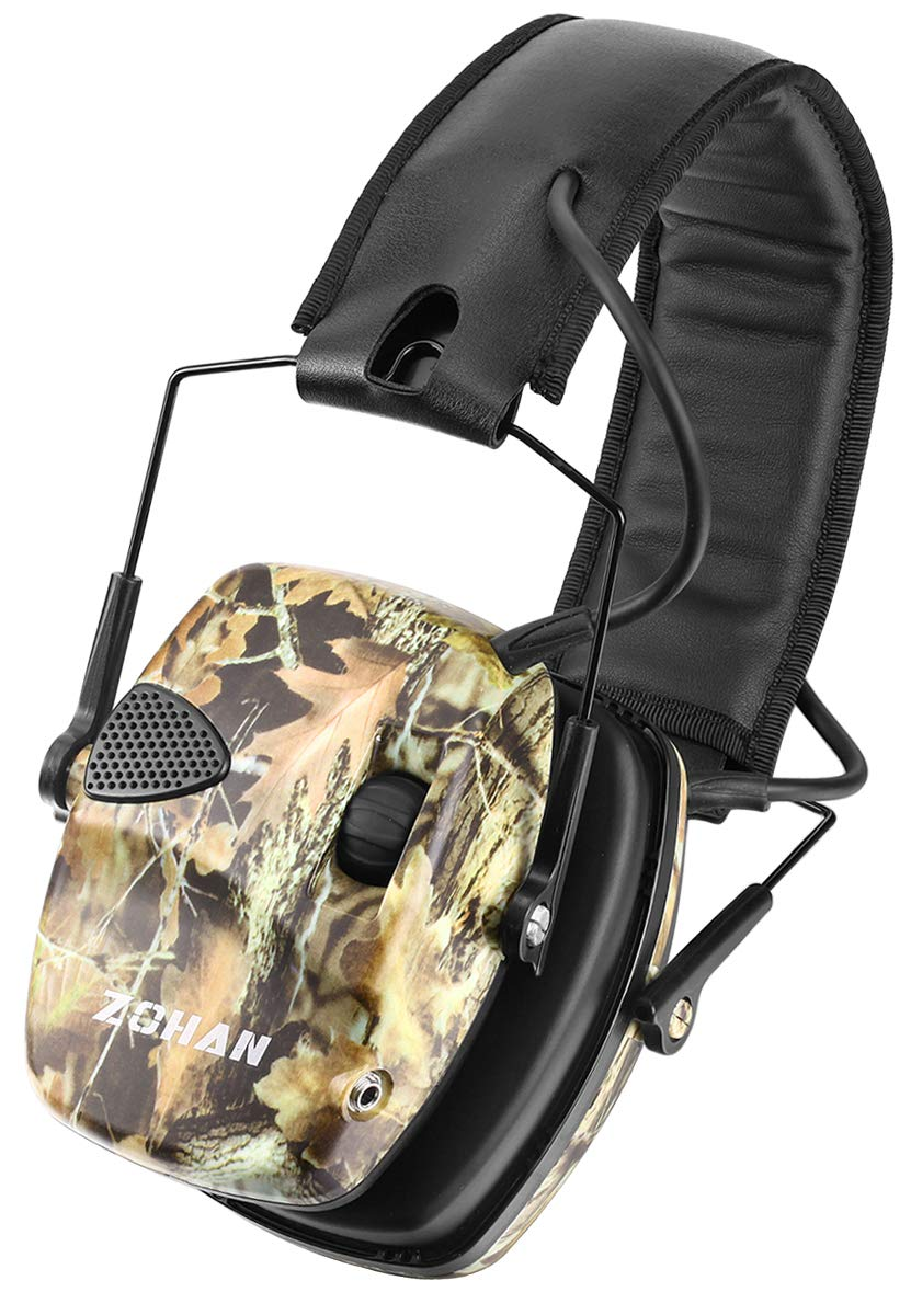 ZOHAN Sound Amplification Electronic Shooting Earmuff, Low Profile Noise Reduction Ear Defender For Hunting, NRR 22dB Professional Hearing Protector (Camo(Without Case))