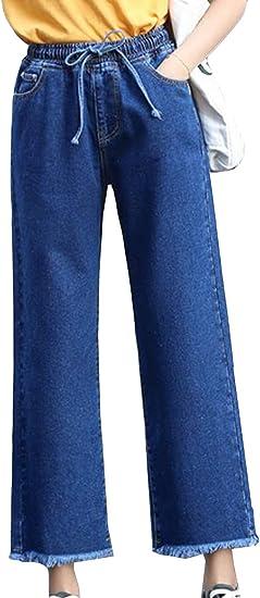 Aisaidunレディース ジーンズ ジーパン デニム パンツ ゆったり ワイドパンツ ウエストゴム カジュアル 韓国風 ファッション 九分丈 秋 冬 アウトドア ストレートパンツ ズボン