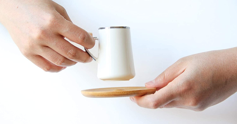 12 St/ück Cappu Alisveristime Kaffeetasse und Untertasse aus Porzellan mit Hutat-Design