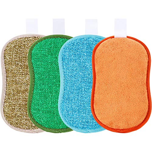 Boao 4 Pieces Dual Action Scrubbing Sponge Cleaning Sponges Dish Sponge 4 Colors 6.25 x 4 Inch for Household Kitchen