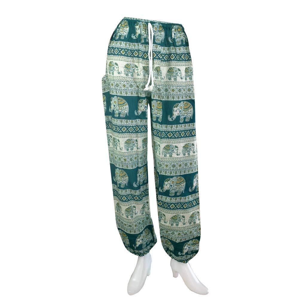 ویکالا · خرید  اصل اورجینال · خرید از آمازون · Harem Thai Pants Men Womens Boho Hippie Baggy Yoga Trousers Elephant Cool (Elephant Aztec Green) wekala · ویکالا