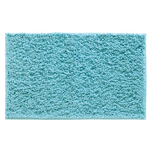 InterDesign Microfiber Fuzi Bathroom Shower Accent Rug, 34 x 21, Aqua