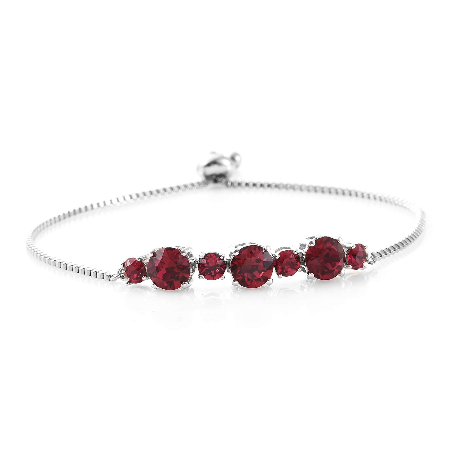Shop LC Delivering Joy Made with Swarovski Ruby Crystal Round Bolo Bracelet for Women Jewelry Cttw 3.8 Adjustable