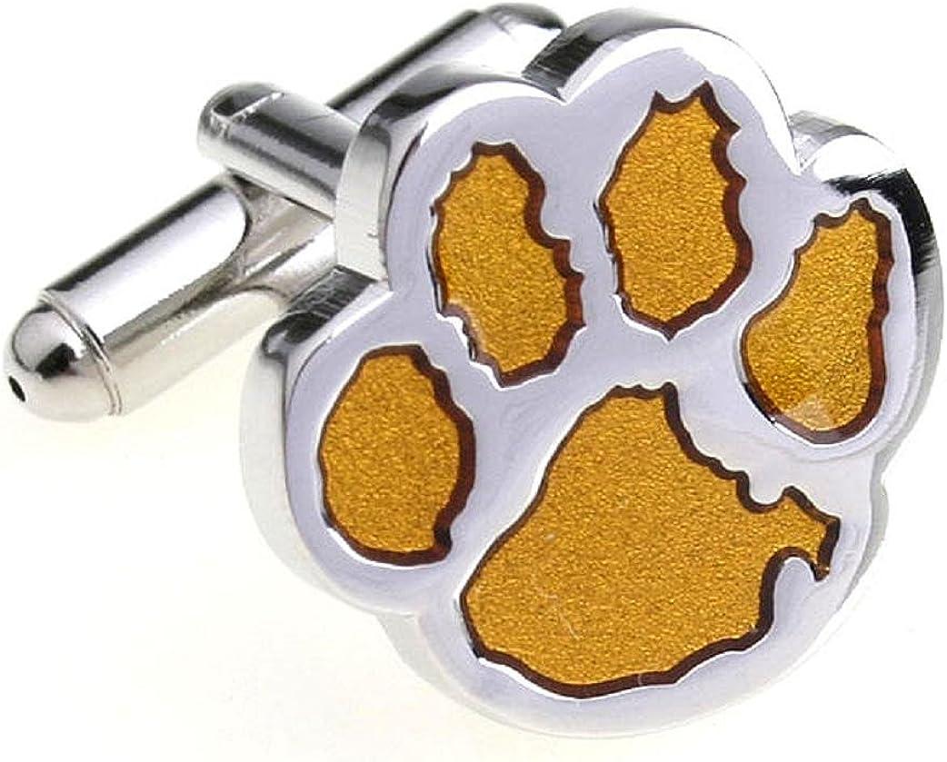 MRCUFF Cub Paw Print Bear Tiger Dog Big Cat Pair Cufflinks in a Presentation Gift Box & Polishing Cloth
