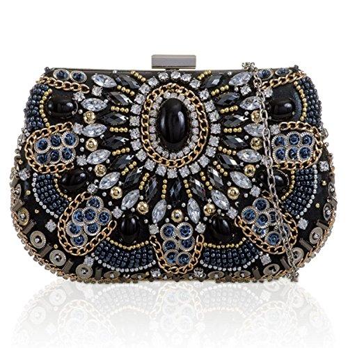 Xardi London Petite Boxy vintage Ladies Embrayage Perles Gem en similicuir de mariage Sac de soirée Femme Noir