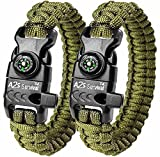 "A2S Paracord Bracelet K2-Peak – Survival Gear Kit with Embedded Compass, Fire Starter, Emergency Knife & Whistle – Pack of 2 - Slim Buckle Design Hiking Gear (Green / Green 8.5"")"
