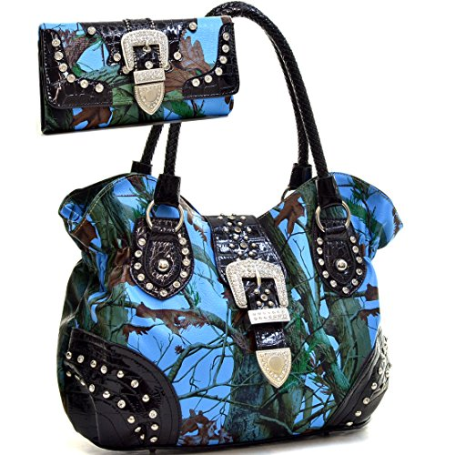 Rhinestone Buckle Camouflage (Western Camo Print Rhinestone Buckle Purse Handbag With Matching Wallet - Blue/Multi)