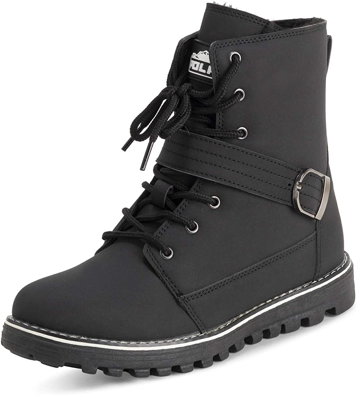 Polar Womens Memory Foam Biker Snow Boots Faux Fur Lined Welted Rubber Outsole Thermal Shoes