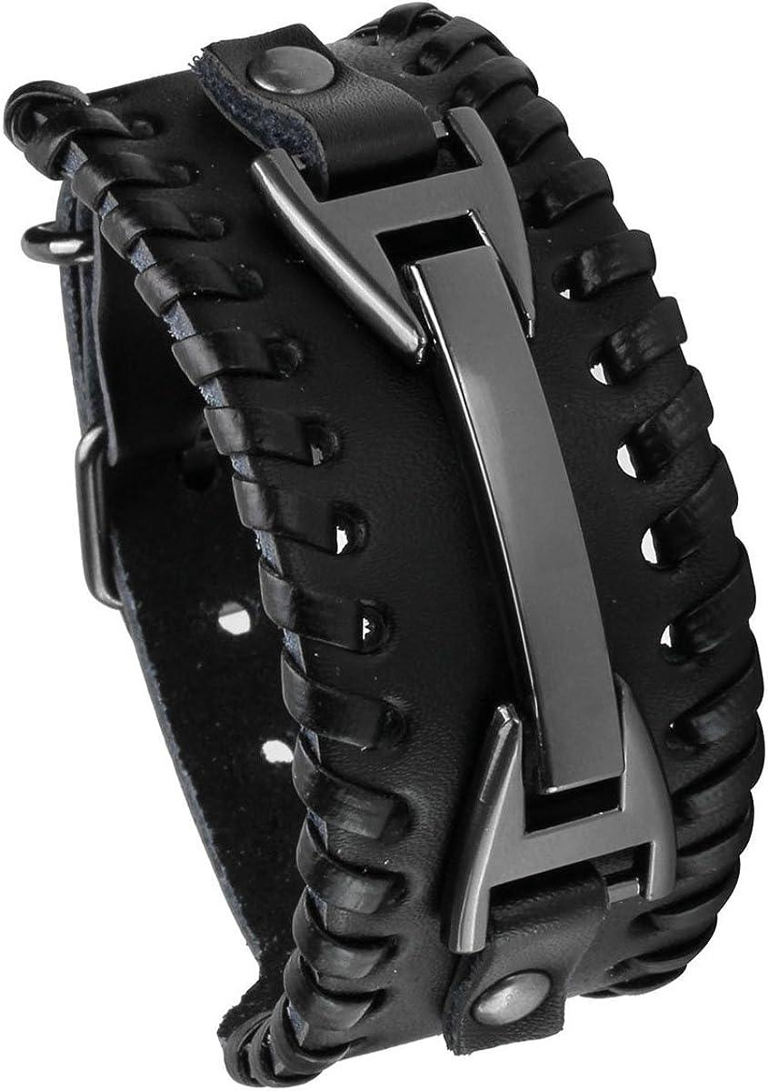 EIGSO Vintage Punk Wide Belt Braided Leather Bracelet Fastening Buckle Metal Wristband for Men Women