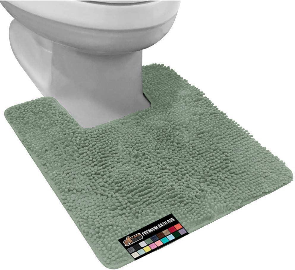 Gorilla Grip Original Shaggy Chenille Square U-Shape Contoured Mat for Base of Toilet, Many Colors, 22.5x19.5, Machine Wash, Soft Plush Absorbent Contour Carpet Mats for Bathroom Toilets, Sage Green