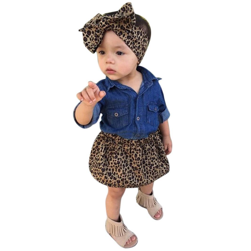 Vestido bebe Niña, K-youth® Ropa Bebe Niña Verano Recien Nacido Bebé Vestido Bebe Ceremonia Bautizo Mezclilla Manga Larga Tops y Faldas de leopardo y Banda de pelo (3PCS)
