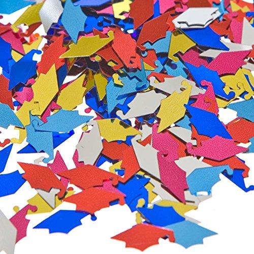 - 2 oz. (4 bags of 0.5 oz.) Metallic Multicolor Graduation Hats Confetti